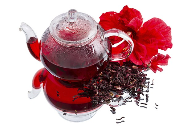 Hibiscus tea on white